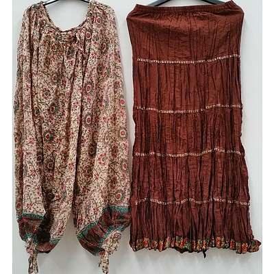 Women's Indian Style Pants, Skirts, Scarves and Clothing - Lot of 70 - Brand New - RRP $1800.00