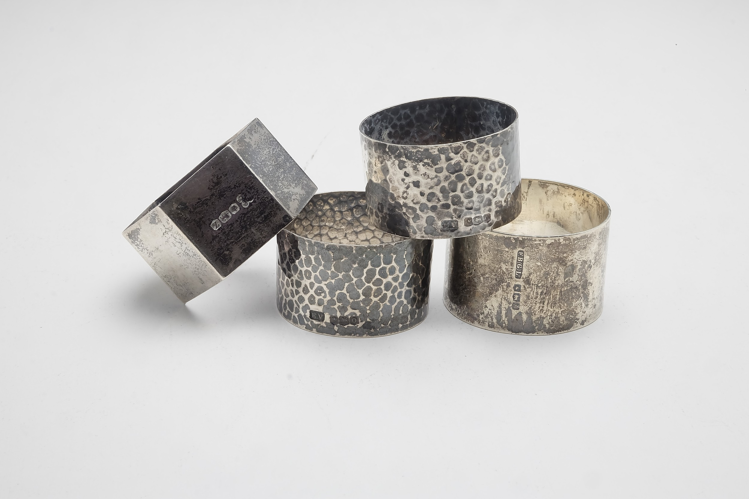 'Four Various Sterling Silver Napkin Rings, Including Pair of Sheffield Viners Ltd 1956 107g'