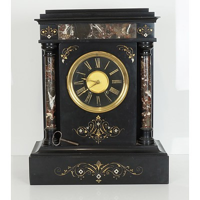 Large French Japy Brothers Black Slate and Marble Mantle Clock, Late 19th Century