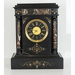 Large French Black Slate and Marble Mantle Clock, Late 19th Century