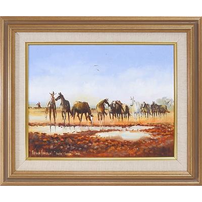 Arthur Hamblin  (1933-) Horse Tailer 1990, Oil on Board