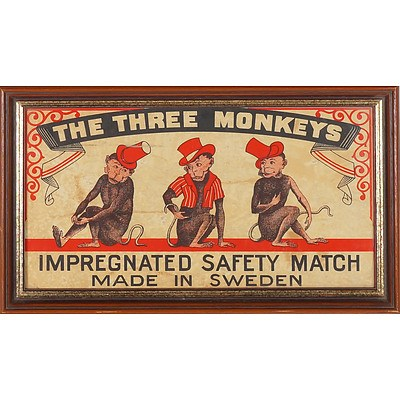 Vintage The Three Monkeys Safety Matches Advertisement