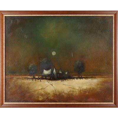 Eris Fleming (1943-) Farmhouse Oil on Board