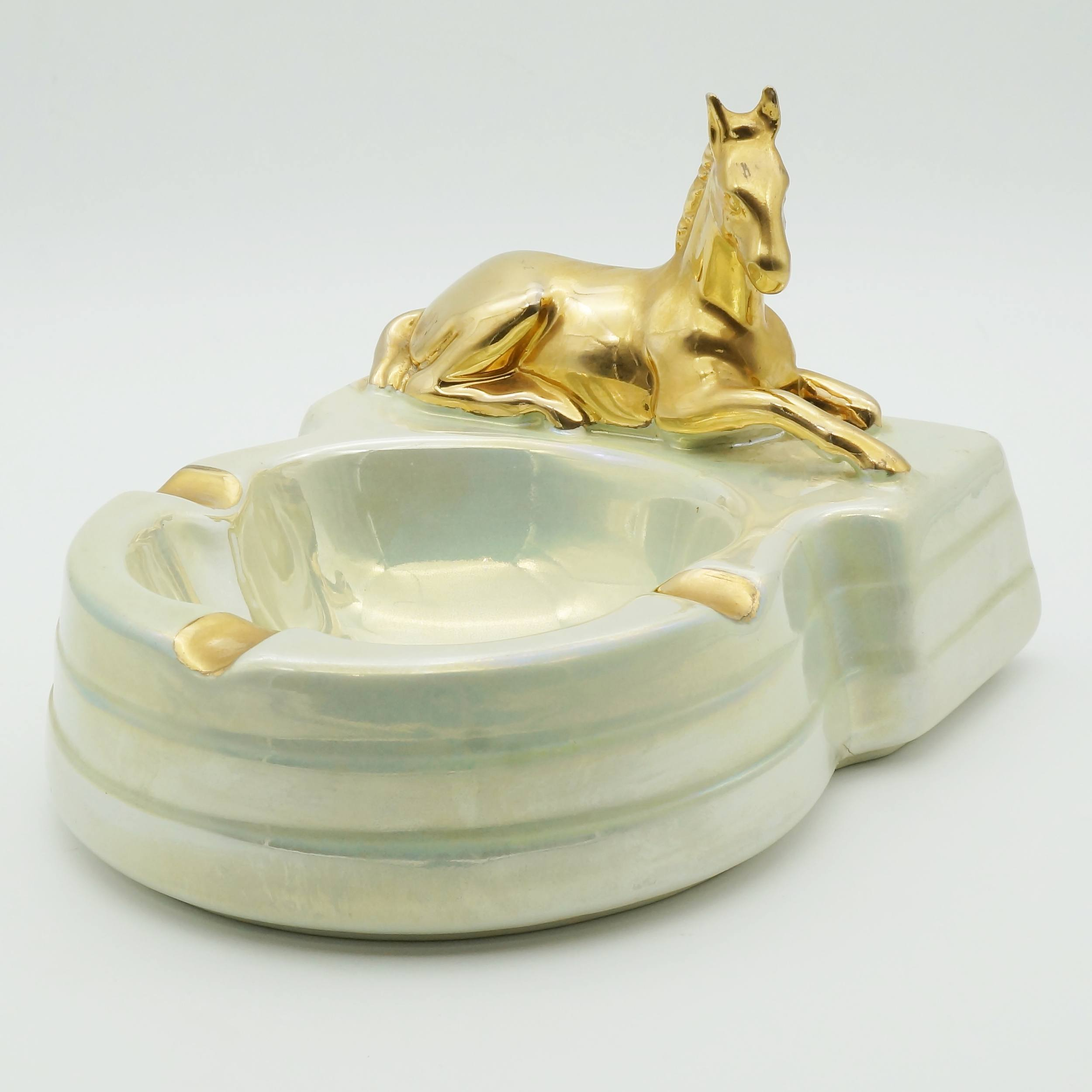 'Lustre Glazed Wembley Ware Horse Ashtray'