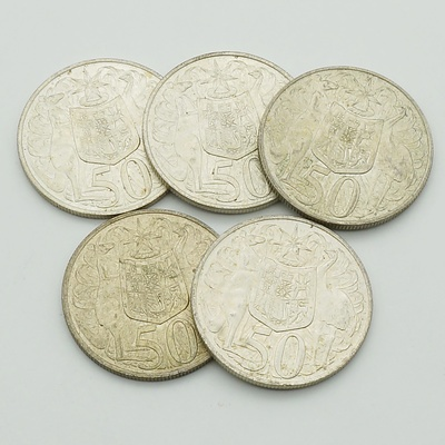 Five Australian 1966 Round Silver 50 Cent Coin