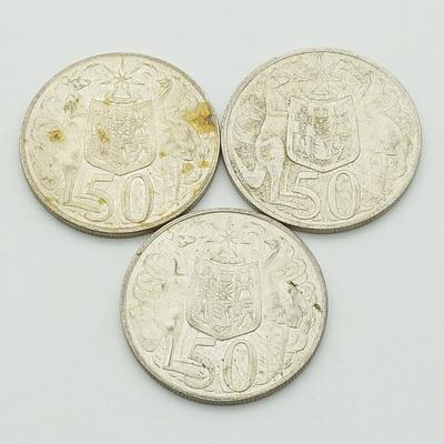 Three Australian 1966 Round Silver 50 Cent Coin