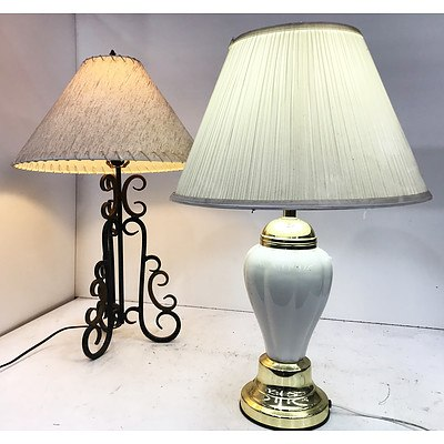 Two Table Lamps with Shades