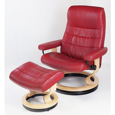 Stressless Norwegian Red Leather Upholstered Reclining Armchair and Ottoman