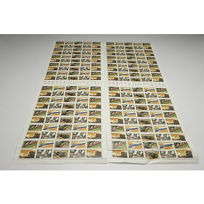 Two Sheets of Australian Train Themed 45c Stamps, Totaling 200