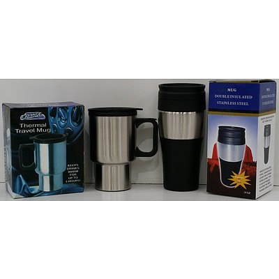 Stainless Steel Travel Mugs - Lot of 17 - New