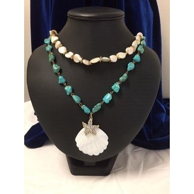 Devine Goddess Peter Lang Turquoise and Pearl Pendant