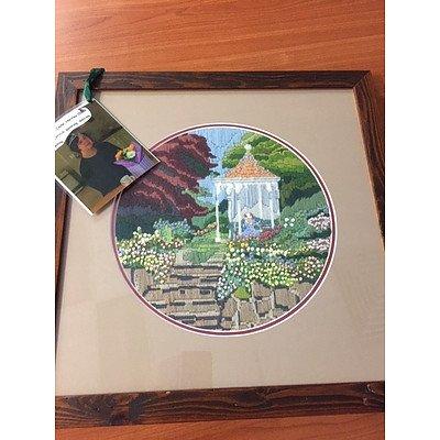 Framed Tapestry - Lady in the Garden