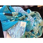 Turquoise, Gold and Blue Hand Made Patchwork Quilt