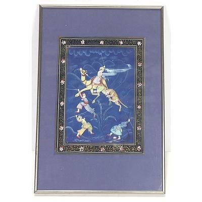 Indo-Persian Hunting Scene Oil On Textile