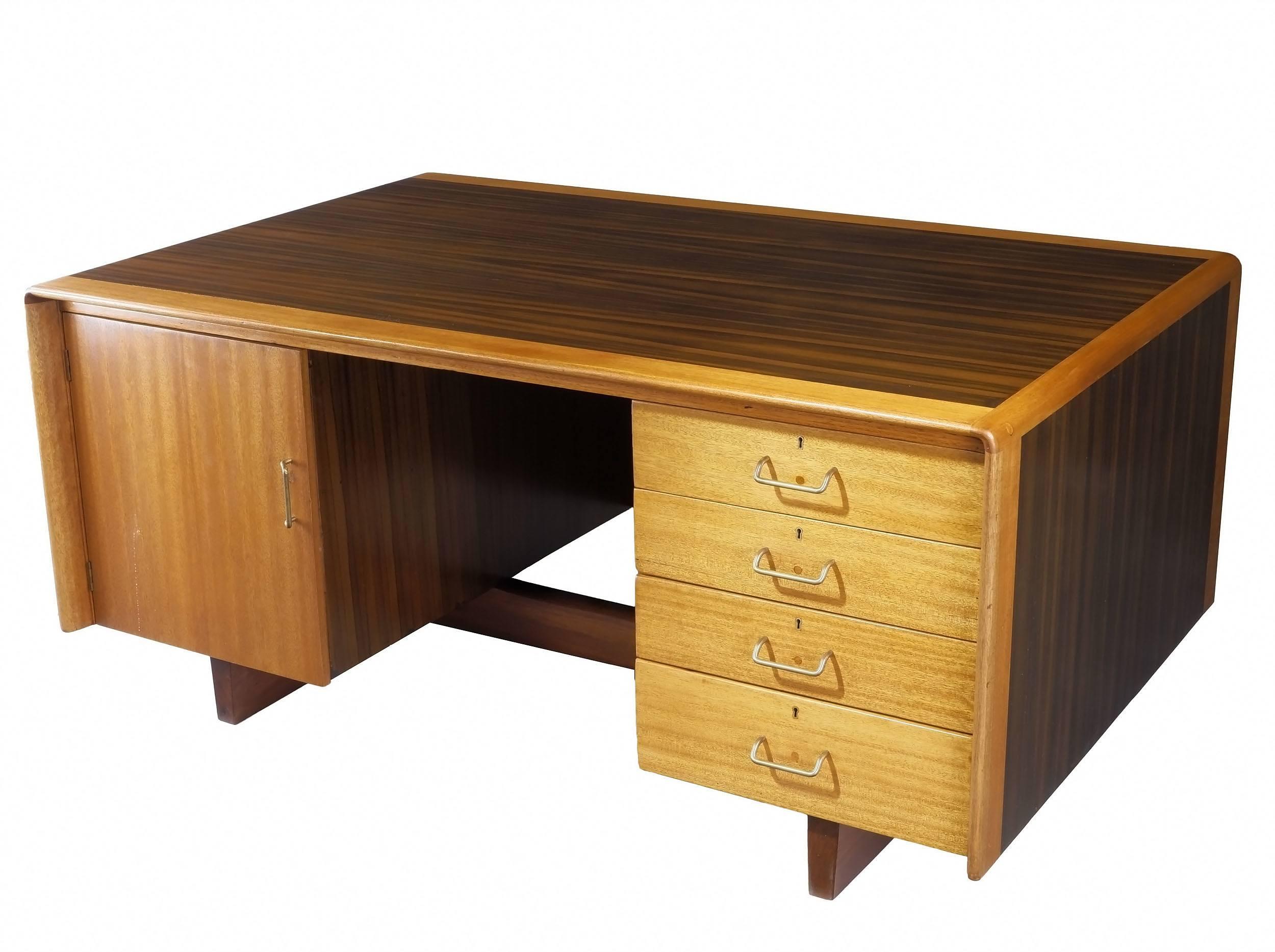 'Vintage Queensland Black Walnut and Maple Executive Desk Circa 1960s'