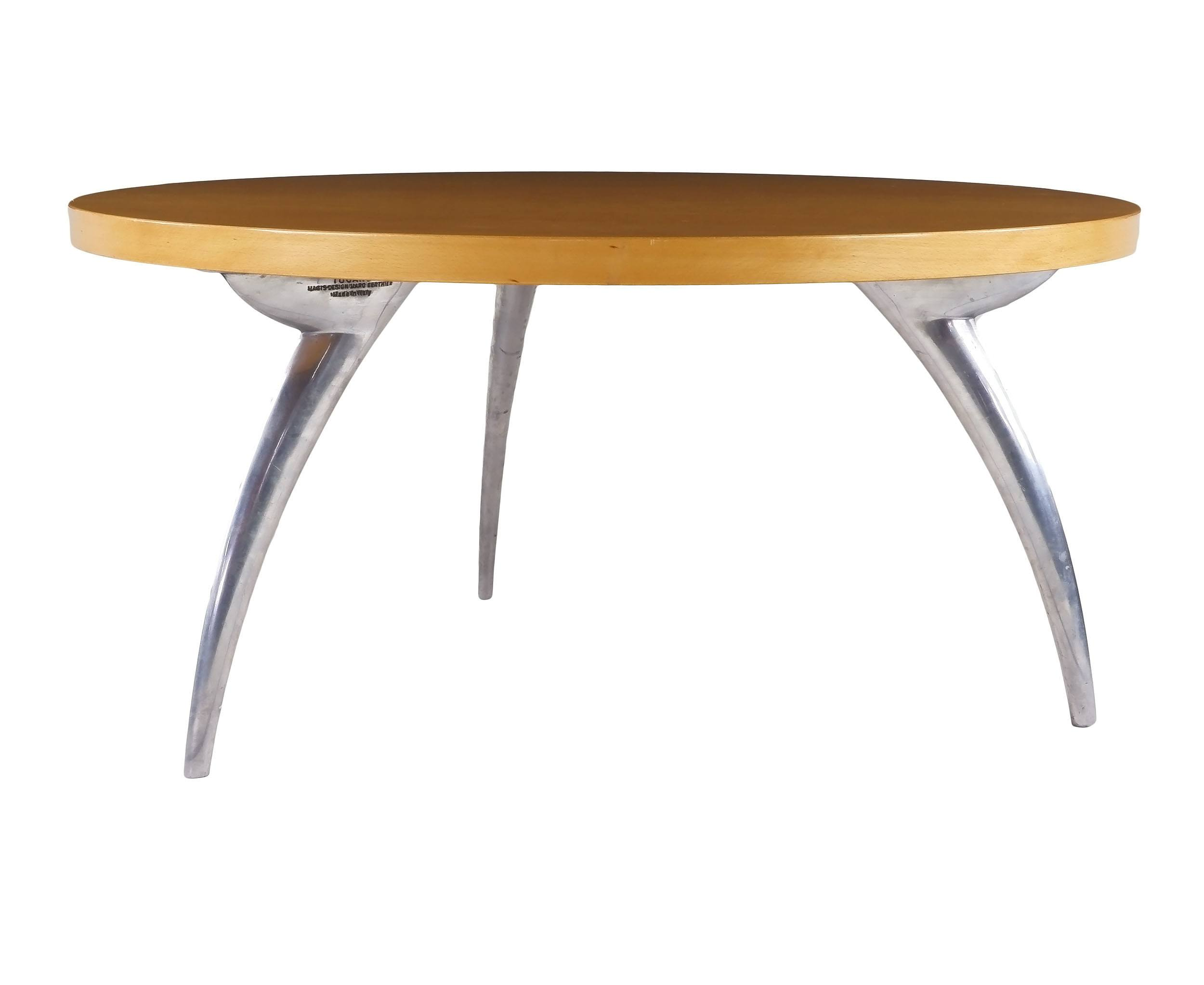 'Tucano Birch Veneer and Cast Aluminium Coffee Table Designed by Marc Berthier for Magis Italy 1990s'