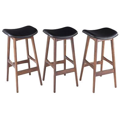 Three Johannes Andersen Style Allegra Leather and Walnut Stools, Replicas