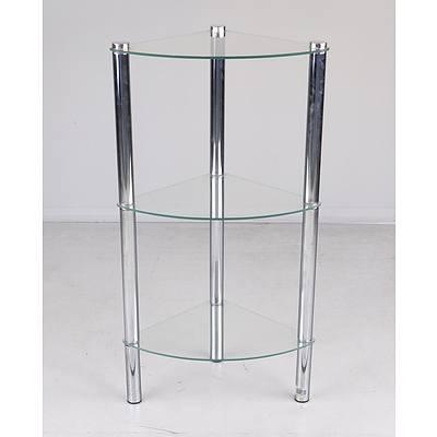 Three-Tier Corner Glass Shelving Unit