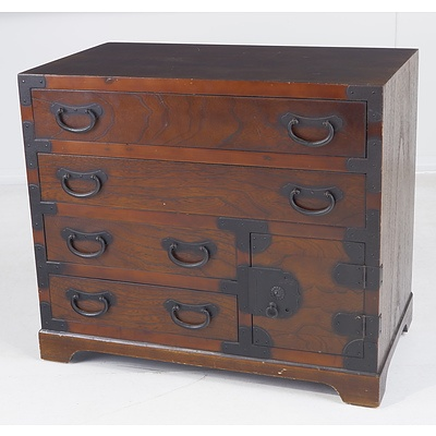 Metal Bound Korean Style Elm Chest, Late 20th Century