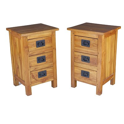 Pair of Bedside Tables with Iron Handles