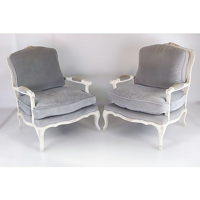 Pair of Louis Style Grand Armchairs with Cane Back