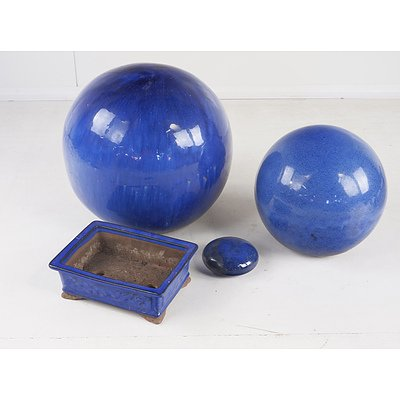 Blue Glazed Ceramic Garden Decorations