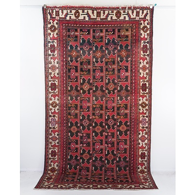 Persian Hand Knotted Wool Pile Rug with Geometric Design, Possibly Bakhtiari