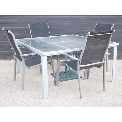 Four-Person Outdoor Glass Table Suite with Patio Umbrella Stand