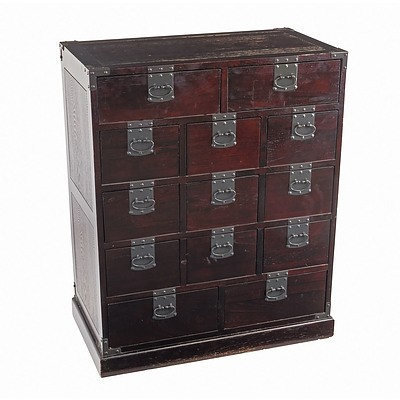Asian (Probably Korean) Metal Bound Elm Small Chest, Late 20th Century