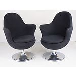 Pair of Black Fabric Upholstered Swivel Tub Chairs