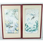 Two Franklin Gallery Silk Paintings, The Tranquility of Summer and The Dance Of Autumn