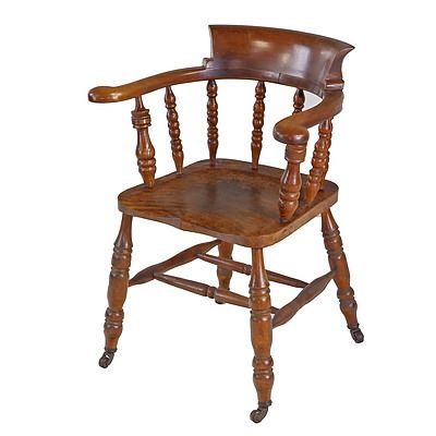Elm and Maple Captain's Chair, Early 20th Century