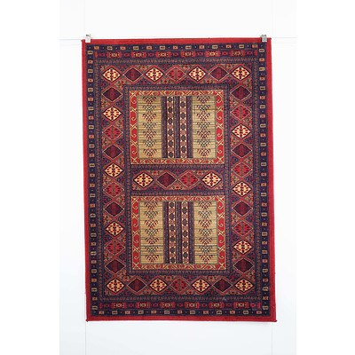 Kirman Style Machine Made Wool Pile Rug