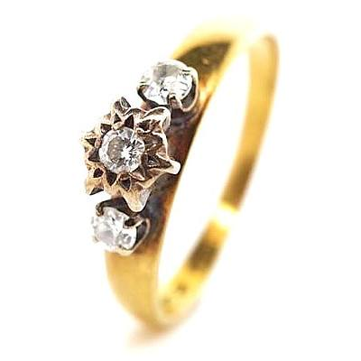 Vintage Diamond Ring - 18ct Gold with Palladium claws