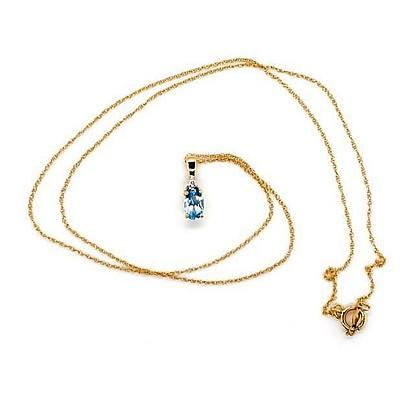 14ct Gold Topaz & Diamond Pendant