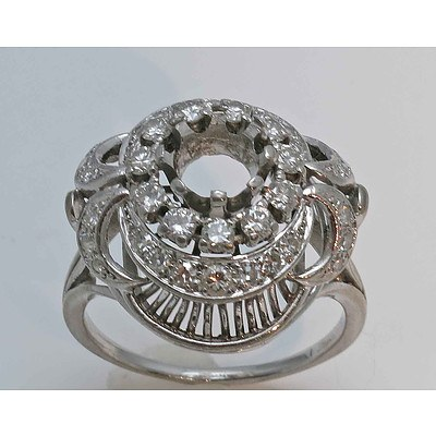 Platinum Ring Mount - suits 1.3ct Diamond or 7mm Facetted Gem