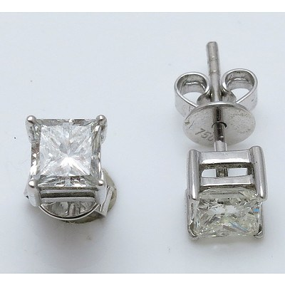 One Carat Princess-cut Diamond Earrings