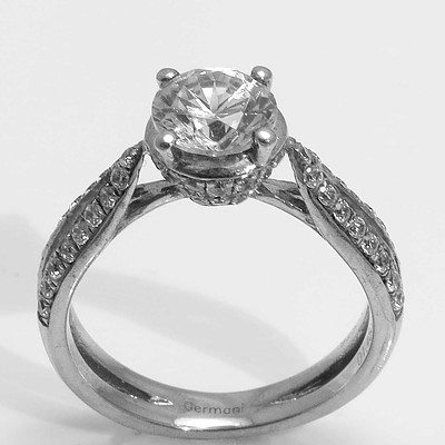 Sterling Silver Ring - white CZ centre with pave set CZs to the split shoulders