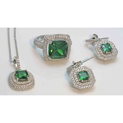 Sterling Silver Suite of Ring, Pendant, Earrings - Green/White CZ