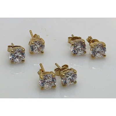 Gold-plated Sterling Silver CZ Earrings (x3 Pairs)
