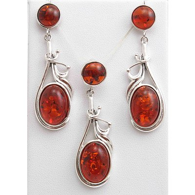 Sterling Silver Set of Amber Pendant & Earrings