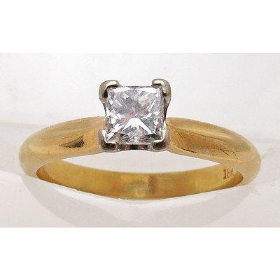 18ct Gold Princess-cut Solitaire Diamond Ring