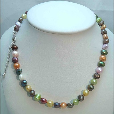 Multi coloured Cultured Pearl Necklace