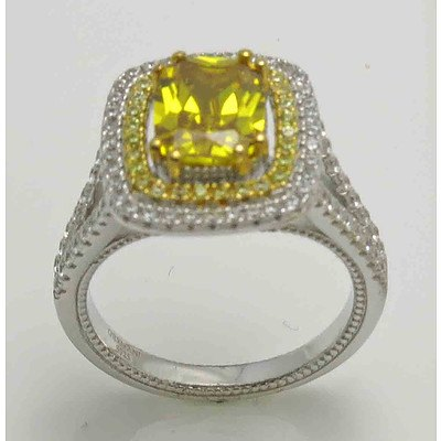 Sterling Silver Ring - gold CZ centre with pave set gold & white CZs to the halo & shoulders