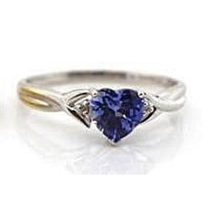 9ct White Gold Ring - Synthetic Sapphire with 2 Diamonds
