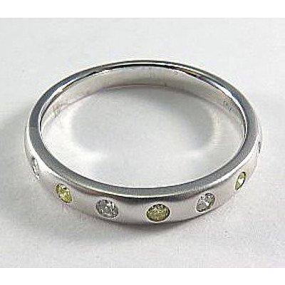 18ct White Gold Diamond Ring - fancy yellow & white Diamonds