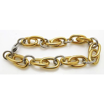 Stainless Steel Bracelet- part gold plated