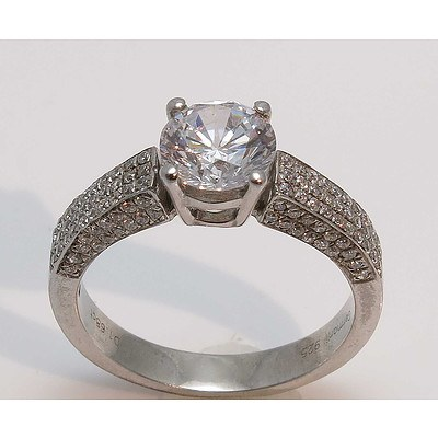 Sterling Silver Ring - large white CZ centre with pave set CZs to the shoulders
