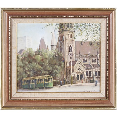 William Hatherly (Working 1970s) Scots' Church Collins Street 1982, Oil on Board