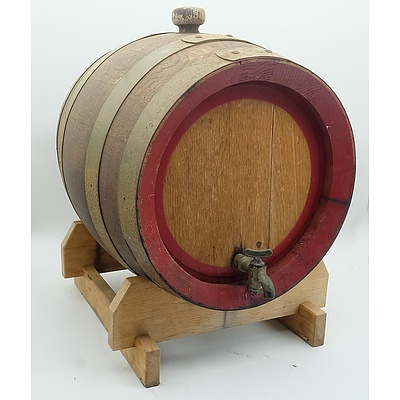 Vintage Metal Bound Oak Barrel